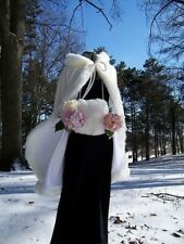 White Bridal Winter Wedding Mid-length Cloak Hooded Cape Satin Bridal Mantle