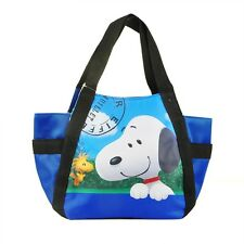 The Peanuts Movie Snoopy Woodstock Nylon Lunch Bag Lunchbox Carry Bag Blue
