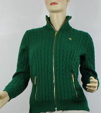Ralph Lauren Sweater Cable Knit Womens XS Green Gold Zipper Cotton New