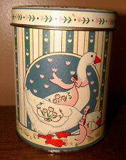 Vintage Goose Tin Blue Country Geese Kitchen Canister Decor