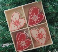 Scandi Heart Christmas Tree Decorations Boxed Set of 12 Red Cream Heaven Sends