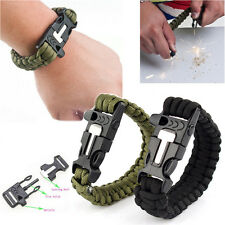 HOT Outdoor Flint Fire Starter Survival Bracelet Paracord  Whistle Gear Scraper