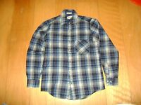 Men's Vintage Flannel Lumberjack Check Plaid Woolen Shirt SIZE S
