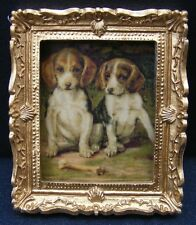 Ornate Picture Spaniels Dolls House Miniatures home framed art, Dogs Doggy Pic