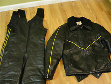 Wolff Canada Leather 2pc. Mens Snowmobile Suit Sz 38 Medium Jacket Bibs ski-doo