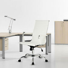 PU Leather Ergonomic Ribbed Office Chair High Back Executive White