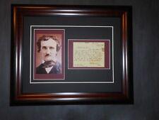 Edgar Allan Poe Mystery Author Poet Hand Written Signed 1846 Letter Framed