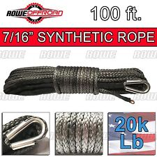 "7/16"" x 100' GRAY Synthetic Winch Line Cable Rope 20k+ LBs with Sheath SUV JEEP"