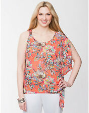 LANE BRYANT 18/20 One Shoulder Floral Side Tie Drama Top 1X 2X Sheer Chiffon