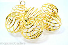Goldtone Spiral Cage 29mm QTY3 Healing Crystal Bead Trinket Cages Charm B029