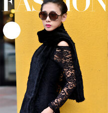 100% Real Genuine Knitted Mink Fur Scarf Cape Stole Coat Shawl Wraps Coffee