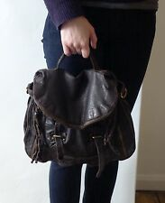 ASOS Brown Leather Motorcycle Rock Shoulder Handbag Satchel NEW £125