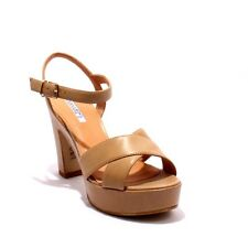 Donna Piu 5251a Beige Leather Platform Heel Ankle Strap Sandals 38 / US 8