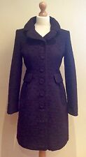 MONSOON COAT PLUM BURGUNDY BLACK FLORAL JAQUARD SIZE 10 BUTTON