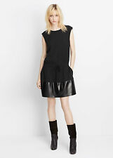 NWT $495 Vince black jersey leather contrast panel drawstring dress,sz.XS