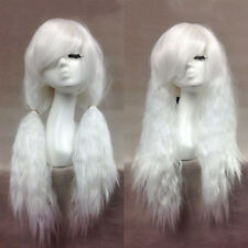 Long Corn Curly Wavy Hair Full Wigs Heat Resistant Cosplay Anime Wig White