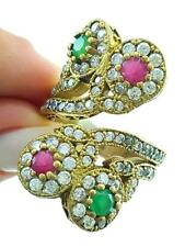 TURKISH HANDMADE JEWELRY 925 Sterling Silver Adjustable Emerald Ruby Ring R22354