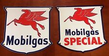 classic MOBIL GAS  SPECIAL set of 2 - heavy18 gauge steel porcelain signs