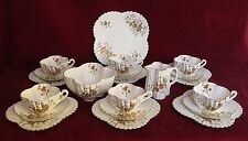 ANTIQUE SHELLEY WILEMAN PORCELAIN COMPLETE 21 PC ALEXANDRA TEA SET, ASTER SPRAYS