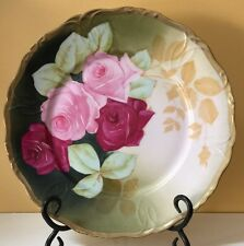 ~BEAUTIFUL~ Antique Beyer & Bock Prussia Plate with Handpainted Pink & Red Roses