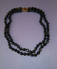 Vintage Double Stranded BLACK Crystal Beaded Necklace in Gold Tone