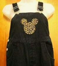 MICKEY MOUSE youth med overalls Disney leopard print silhouette sz 10-12 cartoon