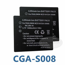 2X Rechargeable new Battery for Panasonic lumix CGA-S008E DMW-BCE10E VW-VBJ10