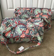 Vera Bradley NOMADIC FLORAL Large & Small Duffel Bag Set Luggage Travel NEW