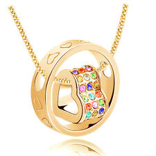 Fashion Jewelry Women Heart Mix Crystal Charm Pendant Chain Necklace Gold IO18