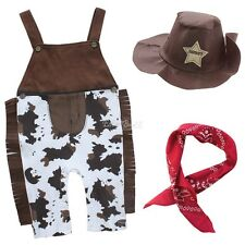 Halloween Baby Boys Newborn Cowboy Hat+Bib+Pants Outfits Set Party Clothes 6-12M