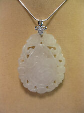 "Grade A white jade carved ""happiness"" pendant ( with 925 silver chain)"
