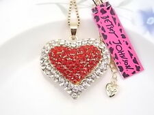 Betsey Johnson Fashion Jewelry inlay red Crystal Heart Pendant Necklace # FMK