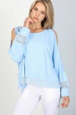 POL BABY BLUE Sexy  Lacey Cold Shoulder Top/Blouse/T-Shirt S BOHO HIPPIE Chic