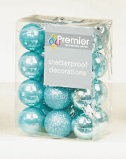 48 x Ice Blue shatterproof Christmas tree Baubles Decorations Small 3cm Size