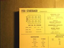 1958 Studebaker Commander Models 259 CI V8 SUN Tune Up Chart Excellent Condition