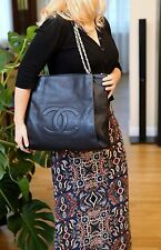 VERIFIED Authentic Chanel Black Caviar Leather Chain Handles Large Tote Bag