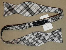 TED BAKER London White and black plaid silk bow tie *NWT*