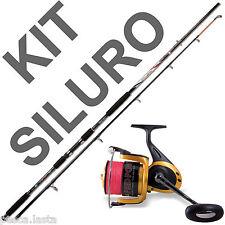 kit canna da siluro e mulinello con trecciato incluso pesca catfishing PL1275