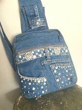 Bag Blue Jeans Denim Beaded Backpack Designer Fashion Cell Phone  Hip