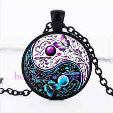 Ying Yang Butterfly Photo Cabochon Glass Black Chain Pendant  Necklace