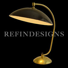 KURT VERSEN ART DECO STREAMLINE MACHINE AGE MODERNE BRASS BLACK TABLE LAMP 1940s