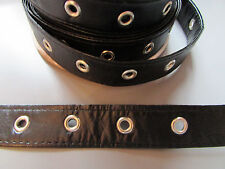 "Black Pleather Eyelet Trim/Tape 2cm 1""  Sewing/Costume/Crafts/Corsetry/Punk"
