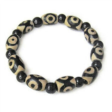 Beautiful Stretchy Tibetan Black Agate 3-eye dZi Beads Beaded Amulet Bracelet 6""