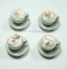 4 Dollhouse Miniature Cups of Coffee * Doll Mini Food Drink Cream Saucers