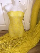 "1 MTR BRIGHT YELLOW LYCRA STRETCH LACE FABRIC...60"" WIDE"