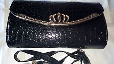 Black Imitation snake skin Leather handbag
