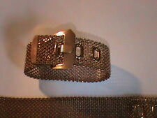 4 Vintage Wide Mesh Buckle Bracelet Industrial Retro Unplated Brass New Old Stk
