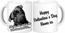Personalised Black Pug Mug High Quality 11oz Mug Valentine`s Day Gift