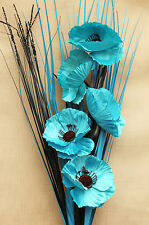 ARTIFICIAL SILK TEAL POPPY FLOWER BOUQUET WITH GRASSES READY FOR YOUR VASE