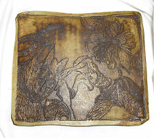 SURREAL SURREALIST ARTISAN CARVED INCISED ART POTTERY PLAQUE TILE CAT WOMAN/ CAT